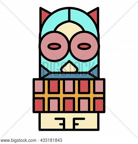 Maya Wood Idol Icon. Outline Maya Wood Idol Vector Icon Color Flat Isolated On White