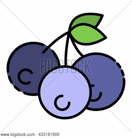 Vegan Bilberry Icon. Outline Vegan Bilberry Vector Icon Color Flat Isolated On White