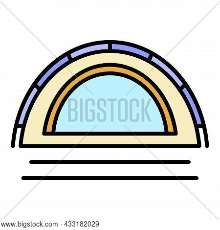 Camp Tent Icon. Outline Camp Tent Vector Icon Color Flat Isolated On White