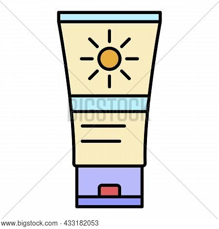Sunscreen Tube Icon. Outline Sunscreen Tube Vector Icon Color Flat Isolated On White