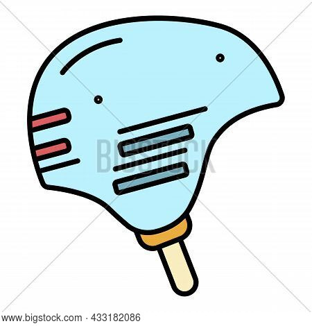 Rafting Helmet Icon. Outline Rafting Helmet Vector Icon Color Flat Isolated On White