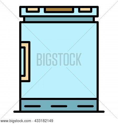 Freezer Icon. Outline Freezer Vector Icon Color Flat Isolated On White