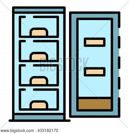 Open Freezer Icon. Outline Open Freezer Vector Icon Color Flat Isolated On White