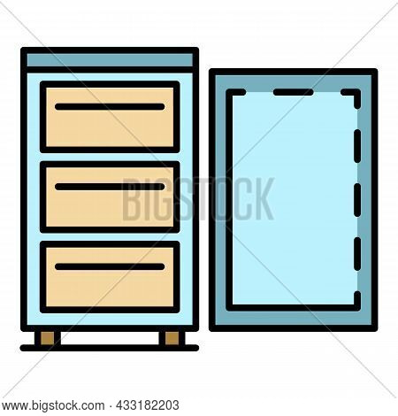 Full Home Freezer Icon. Outline Full Home Freezer Vector Icon Color Flat Isolated On White