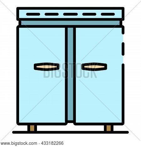 Big Metal Freezer Icon. Outline Big Metal Freezer Vector Icon Color Flat Isolated On White