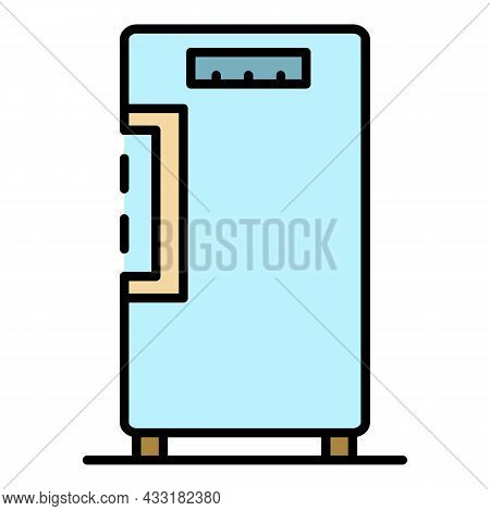 Food Freezer Icon. Outline Food Freezer Vector Icon Color Flat Isolated On White