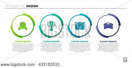Set Golf Ball, Award Cup With Golf, Course Layout And Sun Visor Cap. Business Infographic Template.