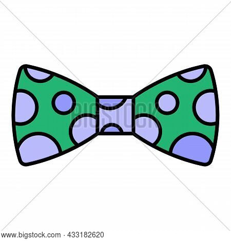 Polka Bow Tie Icon. Outline Polka Bow Tie Vector Icon Color Flat Isolated On White