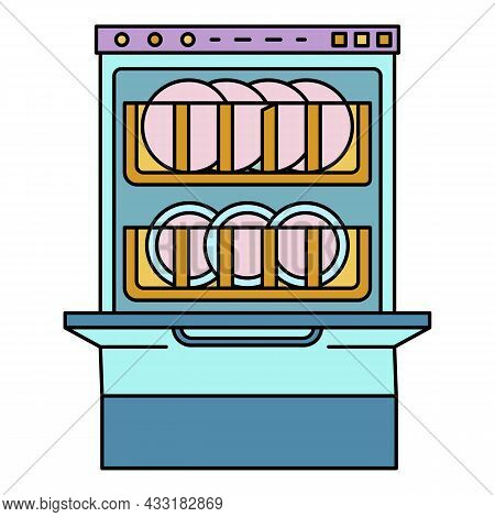 Full Dishwasher Icon. Outline Full Dishwasher Vector Icon Color Flat Isolated On White