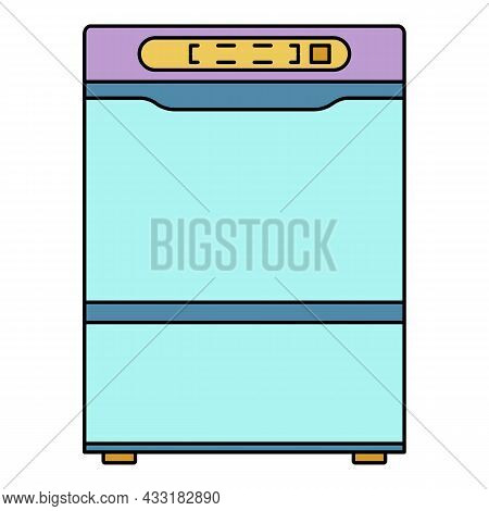 Modern Dishwasher Icon. Outline Modern Dishwasher Vector Icon Color Flat Isolated On White