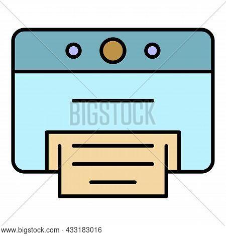 Desktop Printer Icon. Outline Desktop Printer Vector Icon Color Flat Isolated On White