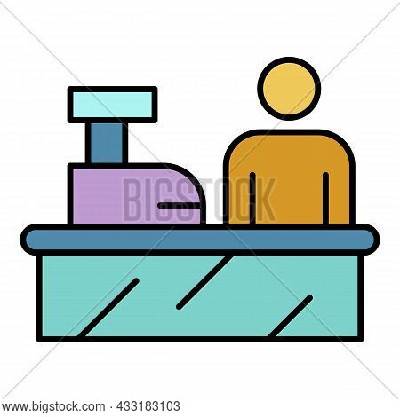 Cashier Work Place Icon. Outline Cashier Work Place Vector Icon Color Flat Isolated On White