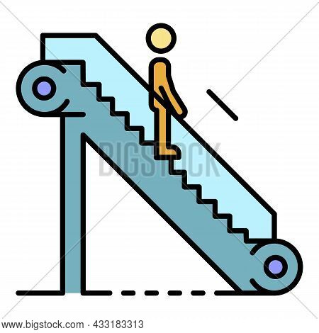 Man Escalator Down Icon. Outline Man Escalator Down Vector Icon Color Flat Isolated On White