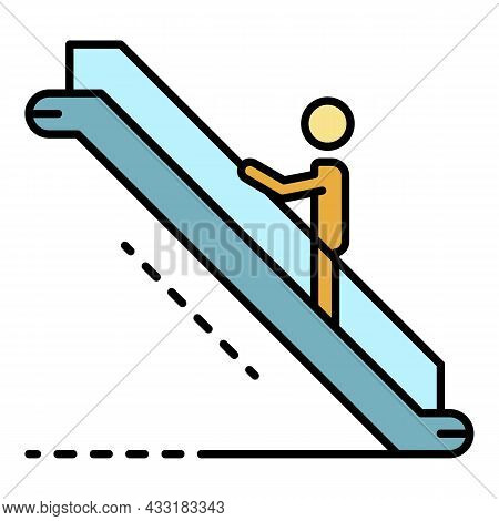 Man Up Escalator Icon. Outline Man Up Escalator Vector Icon Color Flat Isolated On White