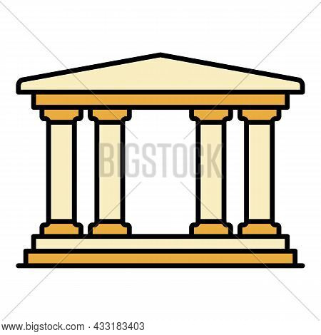 Museum Building Icon. Outline Museum Building Vector Icon Color Flat Isolated On White