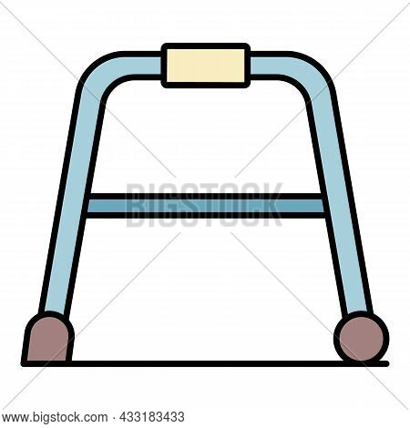 Senior Walker Icon. Outline Senior Walker Vector Icon Color Flat Isolated On White