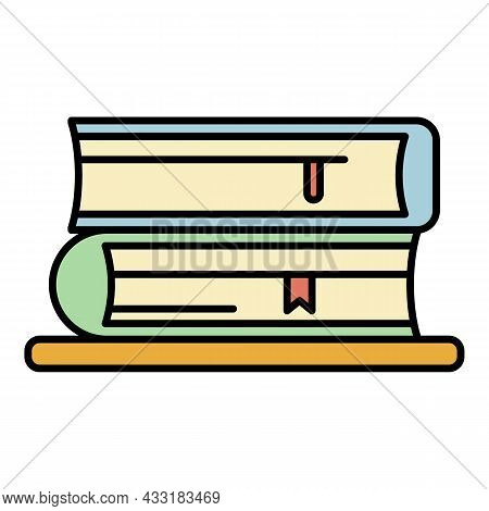 Book Stack Icon. Outline Book Stack Vector Icon Color Flat Isolated On White