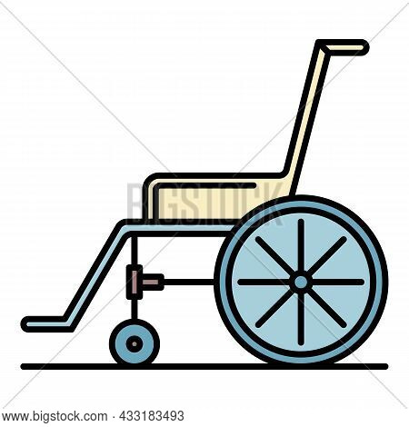 Wheelchair Icon. Outline Wheelchair Vector Icon Color Flat Isolated On White