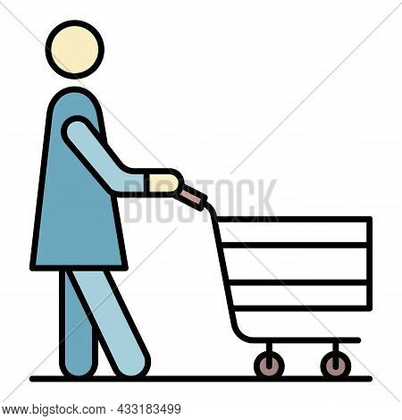 Senior Woman Shop Cart Icon. Outline Senior Woman Shop Cart Vector Icon Color Flat Isolated On White