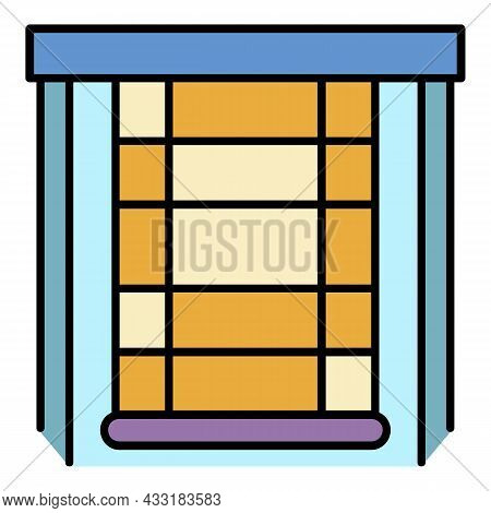 Blind Window Icon. Outline Blind Window Vector Icon Color Flat Isolated On White