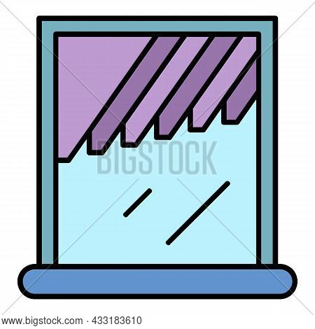 Window Shade Icon. Outline Window Shade Vector Icon Color Flat Isolated On White
