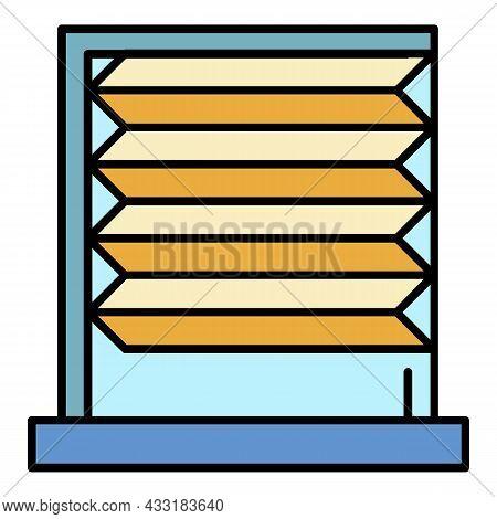 Horizontal Jalousie Roller Icon. Outline Horizontal Jalousie Roller Vector Icon Color Flat Isolated
