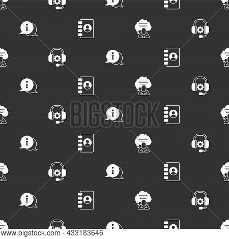 Set Speech Bubble Chat, Headphones, Information And Address Book On Seamless Pattern. Vector