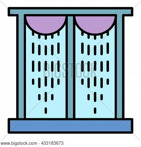 Plastic Windows Curtain Icon. Outline Plastic Windows Curtain Vector Icon Color Flat Isolated On Whi