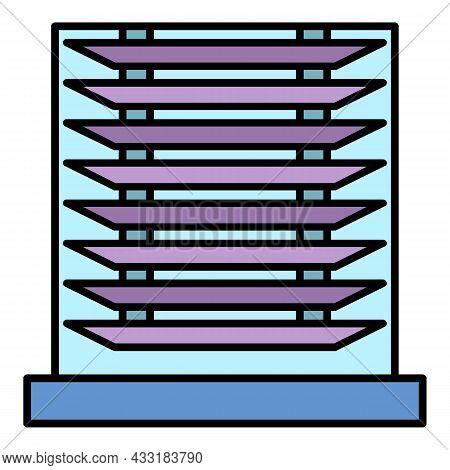 Horizontal Jalousie Icon. Outline Horizontal Jalousie Vector Icon Color Flat Isolated On White