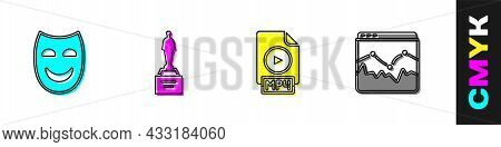 Set Comedy Theatrical Mask, Movie Trophy, Mp4 File Document And Music Wave Equalizer Icon. Vector