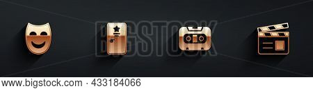 Set Comedy Theatrical Mask, Backstage, Retro Audio Cassette Tape And Movie Clapper Icon With Long Sh