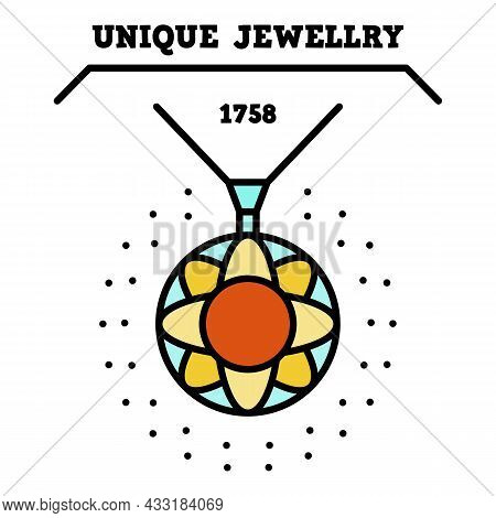 Unique Jewelry Logo. Outline Unique Jewelry Vector Logo Color Flat Isolated On White