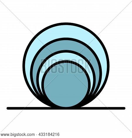 Circle Coil Icon. Outline Circle Coil Vector Icon Color Flat Isolated On White