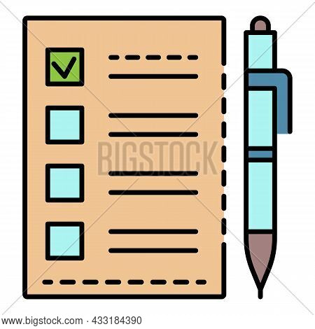 Ballot Checklist Icon. Outline Ballot Checklist Vector Icon Color Flat Isolated On White