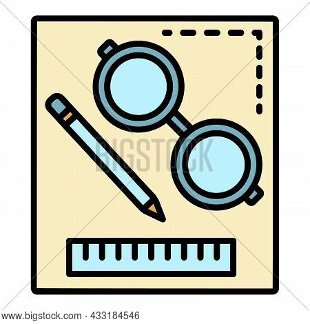 Homework Tool Icon. Outline Homework Tool Vector Icon Color Flat Isolated On White
