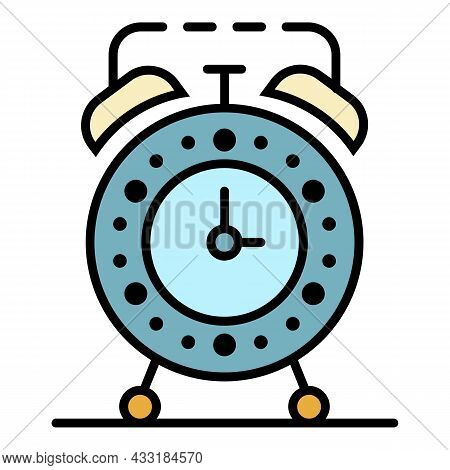 Alarm Clock Icon. Outline Alarm Clock Vector Icon Color Flat Isolated On White