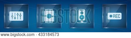 Set Sound Mixer Controller, Beer Can, Stereo Speaker And Record Button. Square Glass Panels. Vector