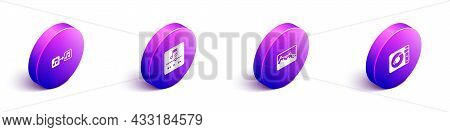 Set Isometric Music Note, Tone, Player, Wave Equalizer And Vinyl With Vinyl Disk Icon. Vector