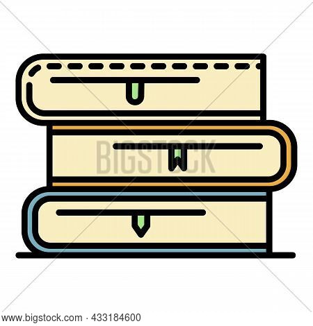 School Book Stack Icon. Outline School Book Stack Vector Icon Color Flat Isolated On White