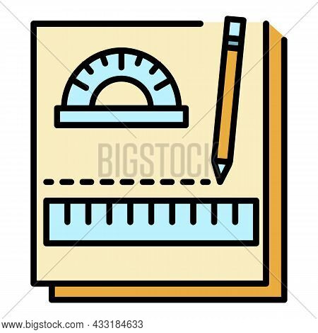 Homework Notebook Icon. Outline Homework Notebook Vector Icon Color Flat Isolated On White