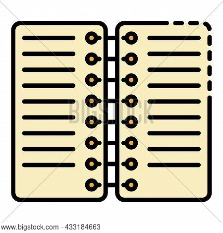 Coil Notebook Icon. Outline Coil Notebook Vector Icon Color Flat Isolated On White