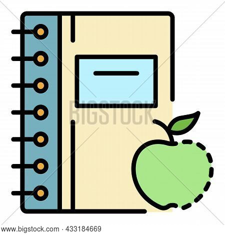 Homework Clean Notebook Icon. Outline Homework Clean Notebook Vector Icon Color Flat Isolated On Whi