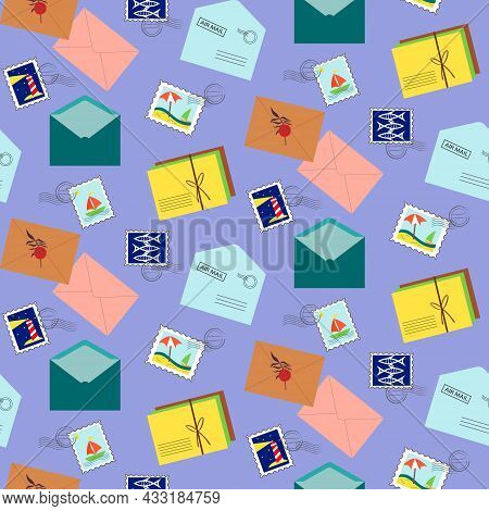 Pattern With Postal Envelopes And Stamps, Travel Series. Vector Illustration On A Blue Background. F
