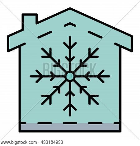 Conditioner Winter Mode Icon. Outline Conditioner Winter Mode Vector Icon Color Flat Isolated On Whi