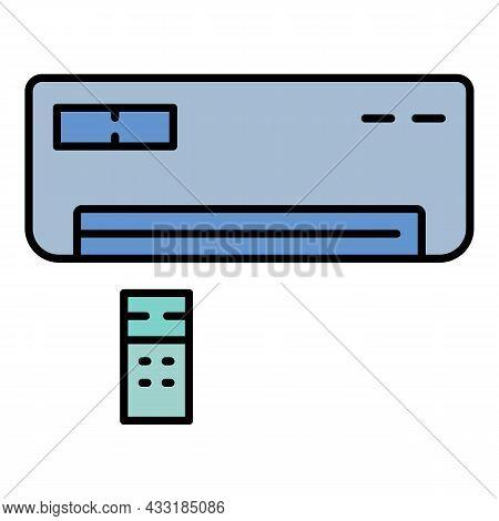 Remote Control Conditioner Icon. Outline Remote Control Conditioner Vector Icon Color Flat Isolated