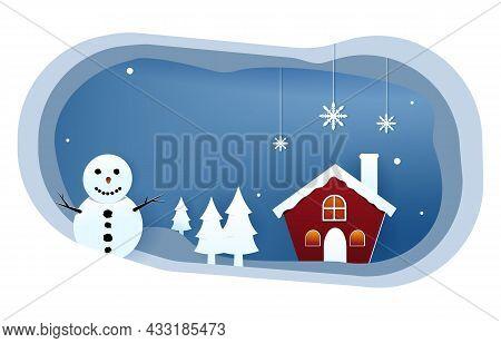 Snowman Snow Winter Papercut Paper Cut Style Illustration
