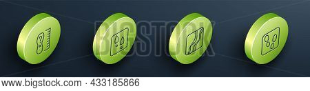 Set Isometric Line Square Measure Foot Size, Human Footprints Shoes, Snake Paw And Icon. Vector