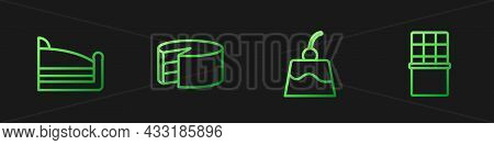 Set Line Pudding Custard, Piece Of Cake, Cake And Chocolate Bar. Gradient Color Icons. Vector