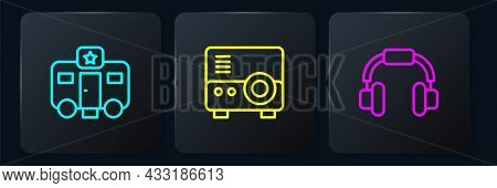 Set Line Actor Trailer, Headphones And Media Projector. Black Square Button. Vector