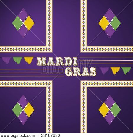 Colored Mardi Gras Poster With Text Vector Illustration